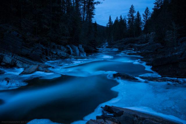 yaak river winter dusk kootenai national forest troy montana